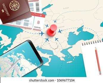 Travel accessories vector illustration. Vacation concept