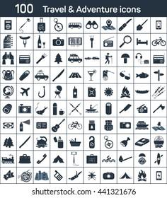 travel, adventure 100 icons set