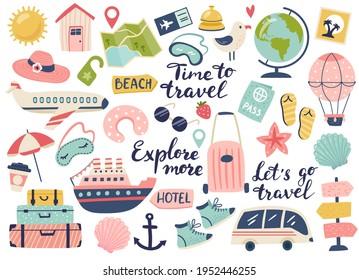 Reisen und Abenteuertourismus, Auslandsreisen, Sommerurlaub-Set. Handgezeichnete Vektorgrafik. Perfekt für Aufkleber-Kit, Scrapbooking, Poster, Tags