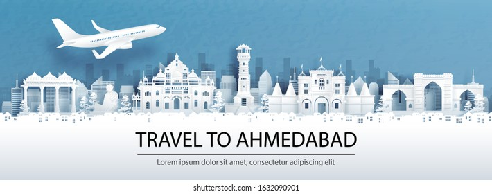 Travel advertising with travel to Ahmedabad, India concept with panorama view of city skyline and world famous landmarks in paper cut style vector illustration.