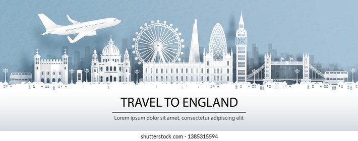 Travel advertising with travel to England concept with panorama view of London city skyline and world famous landmarks in paper cut style vector illustration.