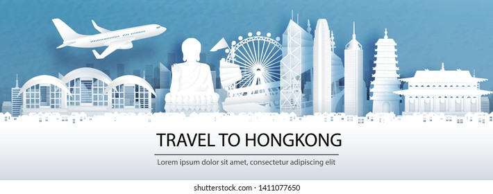 Travel advertising with travel to Hong Kong concept with panorama view of city skyline and world famous landmarks in paper cut style vector illustration.
