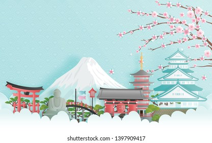 Travel advertising with travel to Japan concept with Japanese famous landmark. Paper cut style vector illustration.