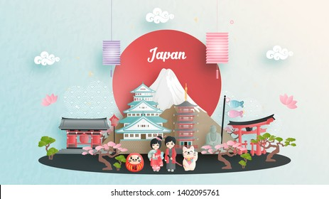 Travel advertising with travel to Japan concept with Japanese famous landmark. Paper cut style vector illustration