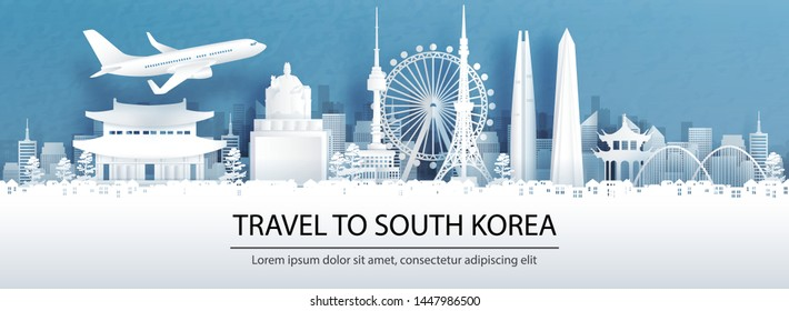 Travel advertising with travel to South Korea concept with panorama view of city skyline and world famous landmarks in paper cut style vector illustration.