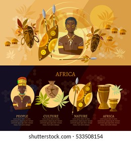 Travel to Africa infographic, culture and traditions of Africa. People, African tribes, ethnic masks, drums vector