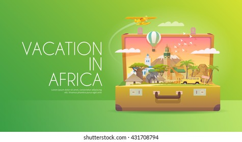 Travel to Africa. Road trip. Tourism. Old suitcase with landmarks. Advertising web banner. Modern flat design.