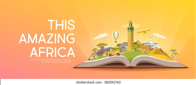 Travel to Africa. Road trip. Tourism. Open book with landmarks. Africa Travel Guide. Advertising web illustration. Summer vacation. Travelling banner. Modern flat design. EPS 10. #6