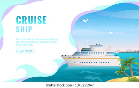 Travel Agency Banner - Cruise Ship Journey - Yacht Ocean sea cruise liner in the islands. Cruise advertising in modern style, travel presentation for social networks