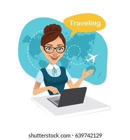 Travel agency banner. Woman sitting at table in office. Travel agent working for laptop. Travel concept.