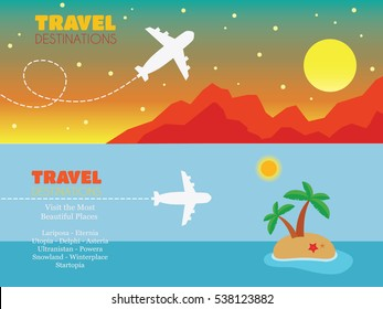 Travel agency brochures, banners. Airplane flight to travel destinations. Flying above mountains and tropical island cartoon vectors.