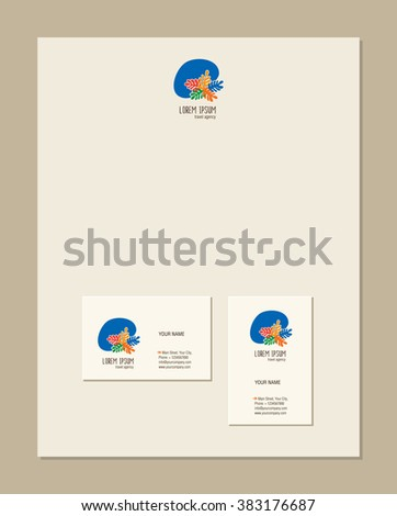 Travel Agency Business Card Template Doodles Sketch For Your Design Vector Illustration