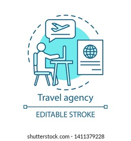 Travel agency concept icon. Traveling idea thin line illustration. Touristic company. Discounts, special offers. Tour advice. Vacation destinations. Vector isolated outline drawing. Editable stroke