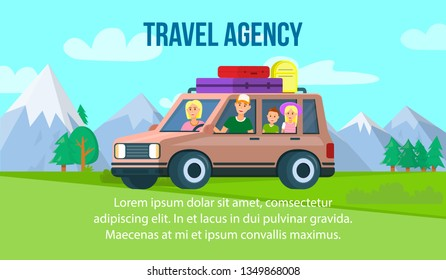 Travel Agency Horizontal Banner with Copy Space. Parents with Little Kids Riding Car with Luggage Bags on Trunk at Mountains, Forest and Blue Cloudy Sky Background. Cartoon Flat Vector Illustration.