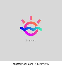 Travel agency icon, gradient spa resort logo, nature landscape, sun and sea wave, color abstract tourist icon isolated. Vector illustration