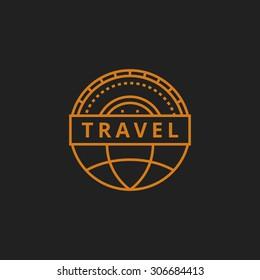 travel agency logo design. badge line style
