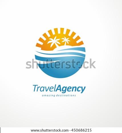 Travel Agency Logo Design Layout Sea Stock Vector Royalty Free