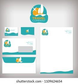 Travel agency logo design and stationery design template set