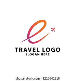 Travel agency logo design template, with letter E