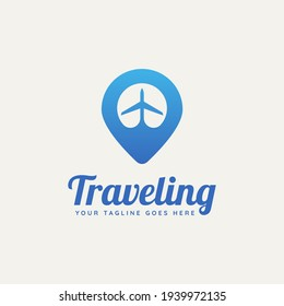 travel agency minimalist flat logo template vector illustration design. simple modern tour, holiday, transportation app icon logo concept