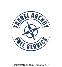 Travel agency round logo, wind rose silhouette