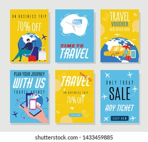 Travel Agency Sales Flyers Offering Hot Prices on Tickets. Best Vacation and Business Trip Vouchers Set. Advertisement for Online Booking Service. Seasonal Summer Discounts. Vector Illustration