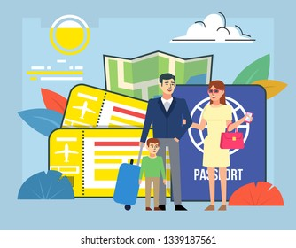 Travel agency, tourism concept. People stand near big passport, airline tickets. Poster for social media, web page, banner, presentation. Flat design vector illustration