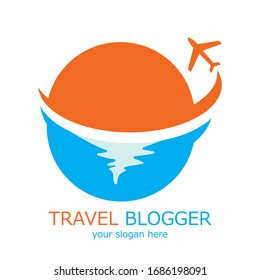Travel agency vector logo template. Holiday logo template. Airplane and Sea Travel Logo