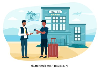 Travel agent check passport. Tourism manager selling tour, cruise, airway or railway tickets. Vacation organization agency, hotel booking availability. Flat cartoon vector illustration