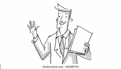 Travel agent man happy Vector sketch for cartoon, projects, storyboards