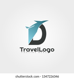 Travel agent vector logo design with initials D letter