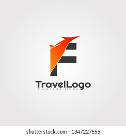 Travel agent vector logo design with initials F letter