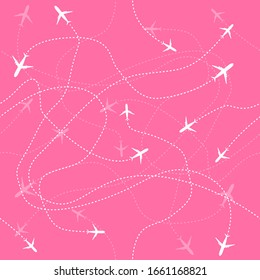 Travel aircraft seamless pattern. Fly vector graphic background. Symbol illustration