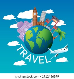 travel airplane world and monuments famous vacations tourism vector illustration