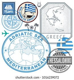 Travel or airport stamps or symbols set Greece theme, vector illustration