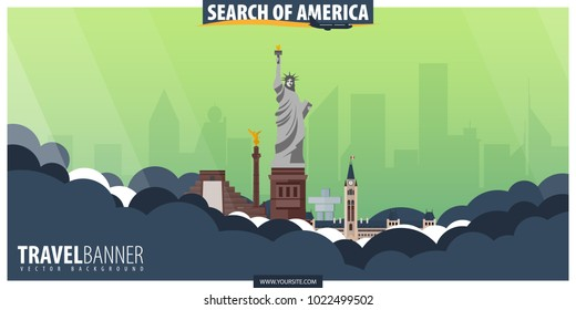 Travel to America, USA, Canada, Mexico. Travel and Tourism poster. Vector flat illustration