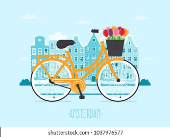 Travel to Amsterdam. Amsterdam City Background with Yellow Bicycle with Tulips in Basket. Flat Design Style.
