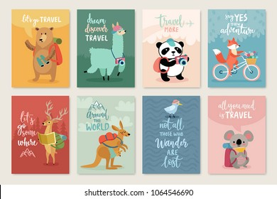 Travel Animals card set with motivation calligraphy, hand drawn style,  Vector illustration.