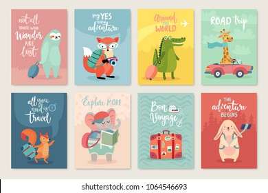 Travel Animals card set with motivation quotes, hand drawn style,  Vector illustration.