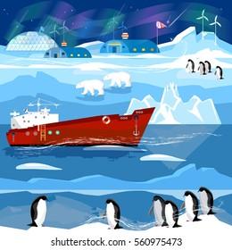 Travel to Antarctic and Arctic. Ice breaker, penguins, polar lights. Animals of Antarctica. Scientific base on North Pole
