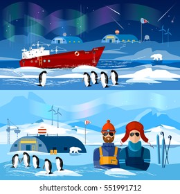 Travel to Antarctica banners. Scientific station on North Pole. Fauna of Antarctic, polar bear, penguins. Ice breaker and polar explorers. Arctic and Antarctic tourism.