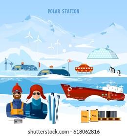 Travel to Antarctica concept. Scientific station on North Pole. Fauna of Antarctic, polar bear, penguins. Ice breaker and polar explorers. Arctic and Antarctic tourism