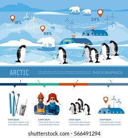 Travel to Antarctica infographics. Scientific station on North Pole. Fauna of Antarctic polar bear penguins. Scientific polar explorers template design