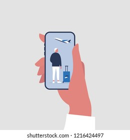 Travel application, New technologies. Hand holding a smartphone. Flat editable vector illustration, clip art