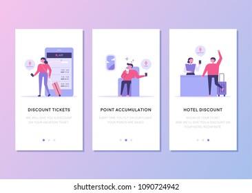 travel application template concept flat design style vector illustration set