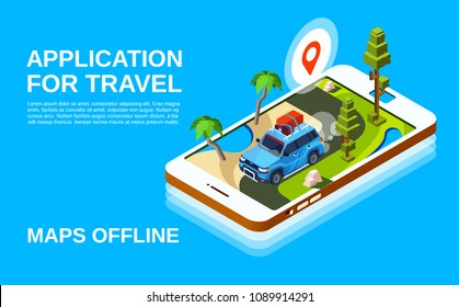 Travel application vector illustration of car and road map in smartphone screen display. Holiday trip navigation poster for offline maps mobile app design with location pin and route plan