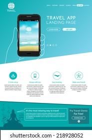 Travel application website landing page template vector illustration