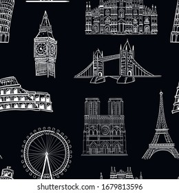 Travel, architecture, fashion vector seamless pattern on black background. Concept for wallpaper, wrapping paper, cards, print