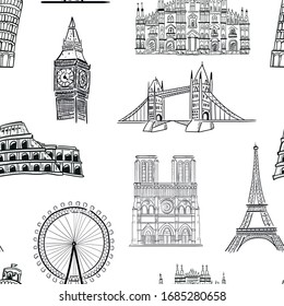 travel, architecture, fashion vector seamless pattern on white background. Concept for wallpaper, wrapping paper, cards