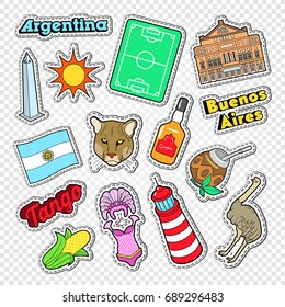 Travel to Argentina Doodle. Argentinian Stickers, Badges and Patches with Animals and Architecture. Vector illustration